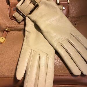 Michael Kors Leather Gloves Cream S